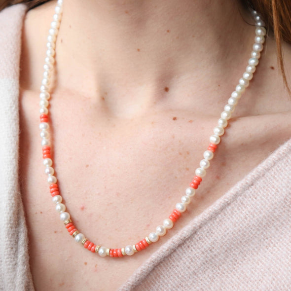 Pearl + Coral Necklace