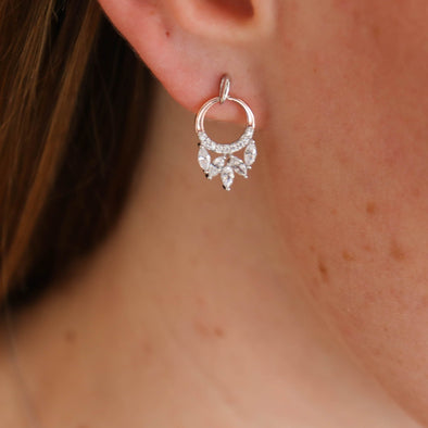 Two Tone + Marquise CZ Earrings