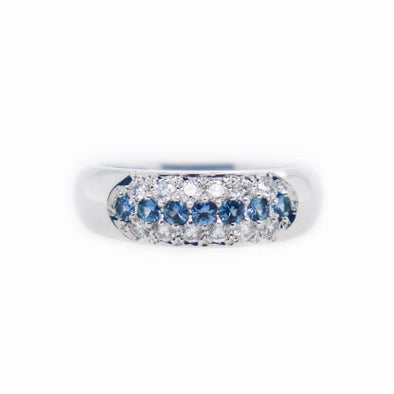 'Hilary' Yogo Sapphire + Diamond White Gold Band