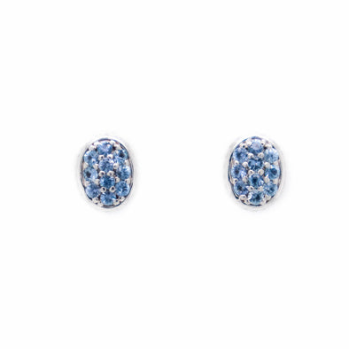 'Callie' Yogo Sapphire + White Gold Pavé Stud Earrings
