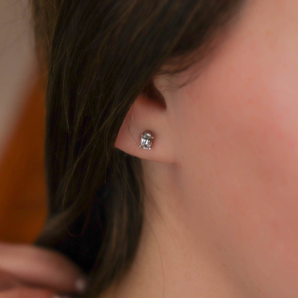 White Sapphire Oval Studs