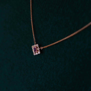 'Esme' Ruby + Diamond Rose Gold Necklace