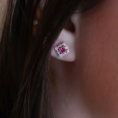 'Esme' Ruby + Diamond Rose Gold Studs