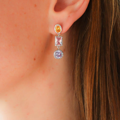 Vintage Design Multi Colored CZ Earrings