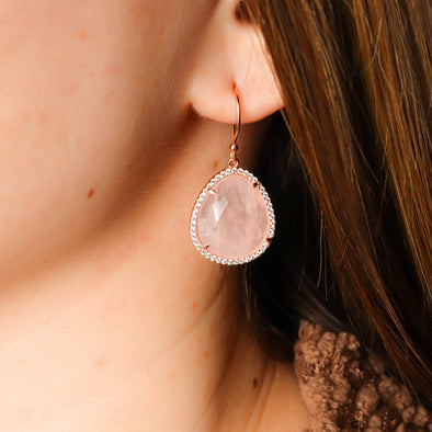 Rose Quartz + CZ Earrings