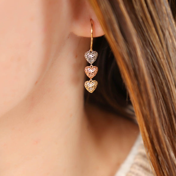 Triple Gold Heart Earrings