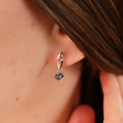 Alexandrite + Diamond Dangle Studs