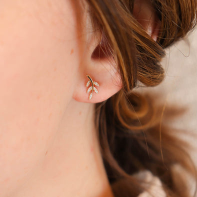 Diamond Leaf Studs
