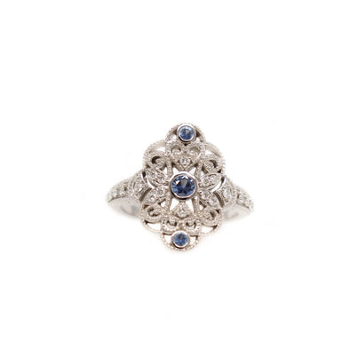 'Nettie' Vintage Inspired Yogo Sapphire + 14k White Gold and Diamond Ring