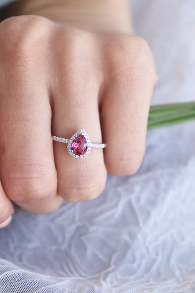 Pink Tourmaline Halo Ring