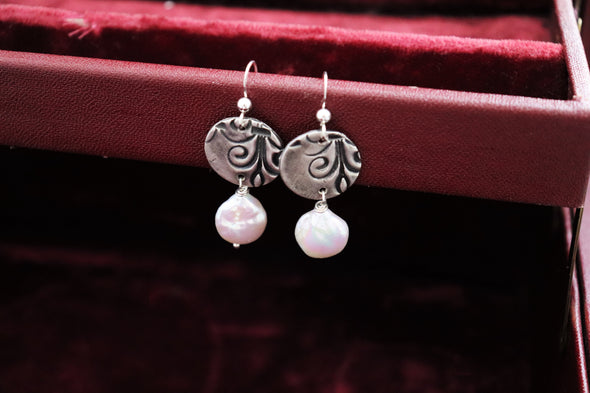 Hand-Stamped Fine Silver Pearl Drop Coin Earrings