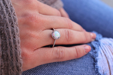 Gemstone + Diamond Accented Ring