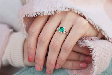 Emerald + Diamond Halo Ring