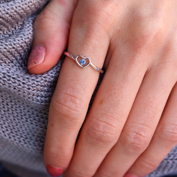 Sterling Silver + AAA Yogo Sapphire Heart Ring