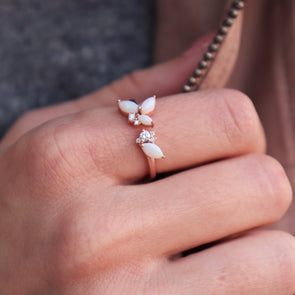 'Lucia' Opal + Rose Gold Ring