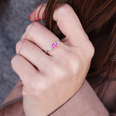 Pink Tourmaline + Diamond Accented Ring