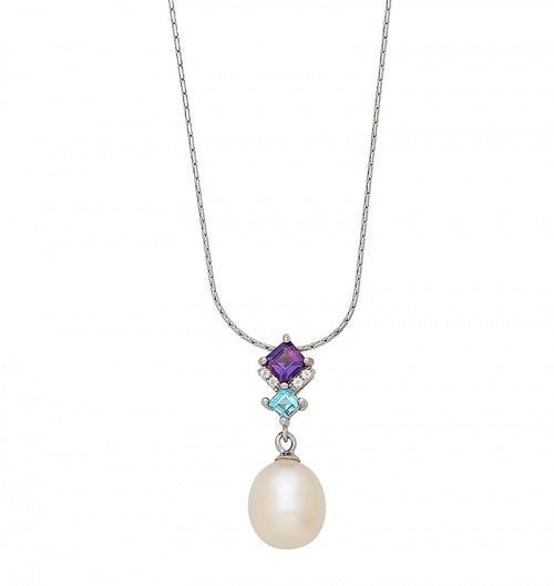 Pearl + Gemstone Pendant Necklace
