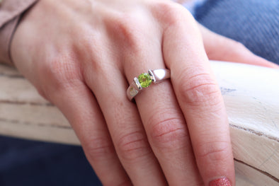 Interrupted Band Gemstone Ring - Peridot