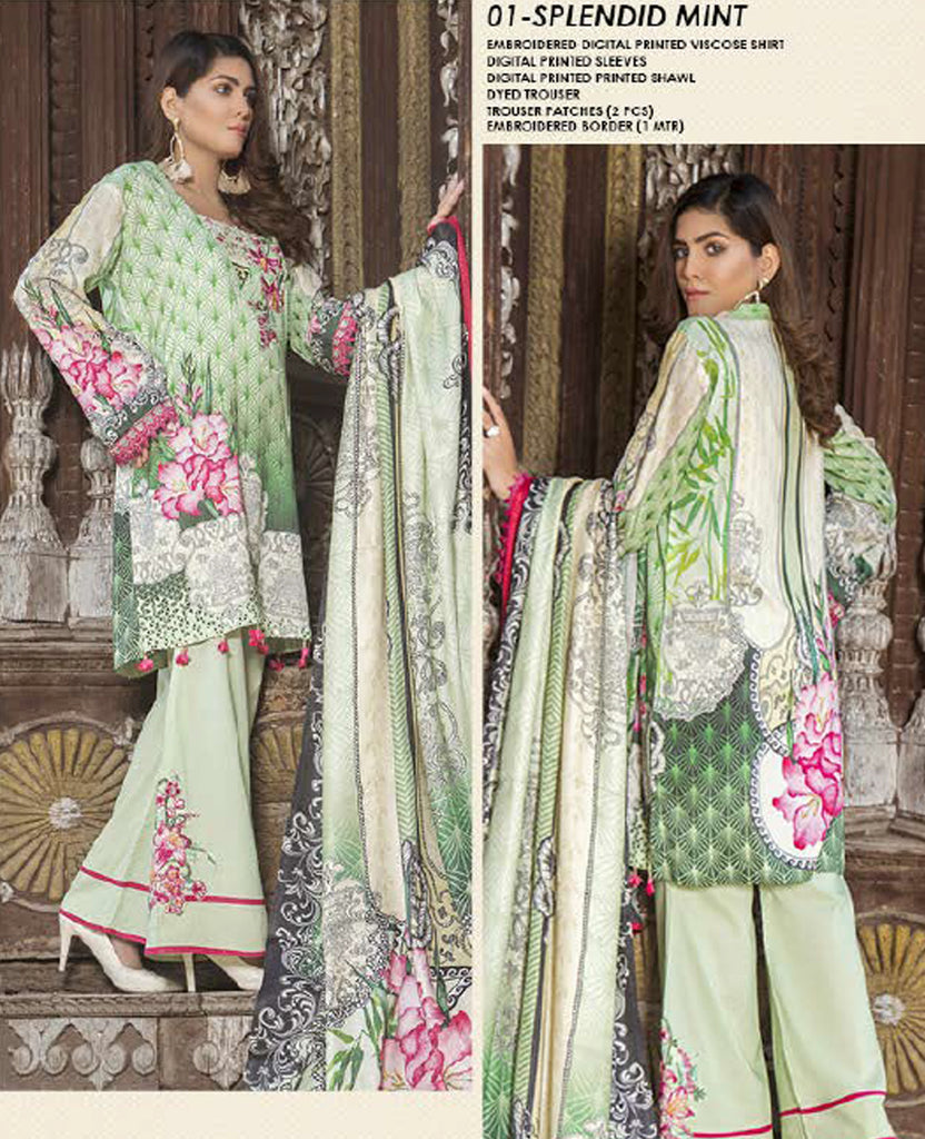 Splendid Mint Embroidered Viscose-3PC