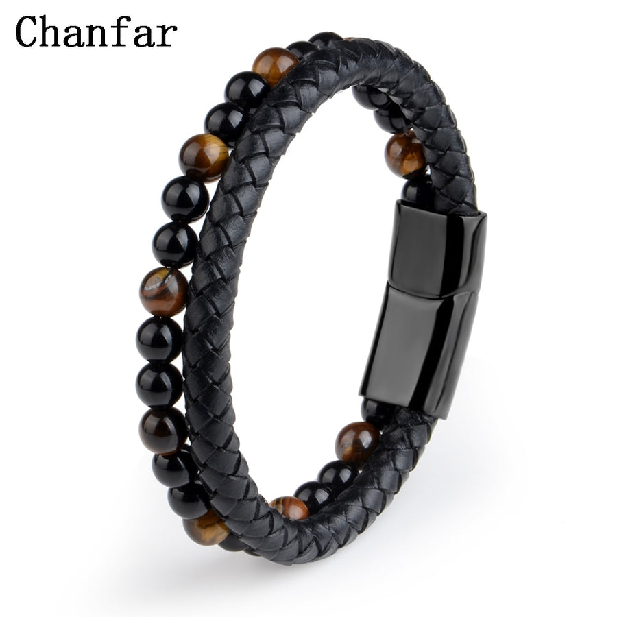 Men's Fashion Stone Leather Bracelet