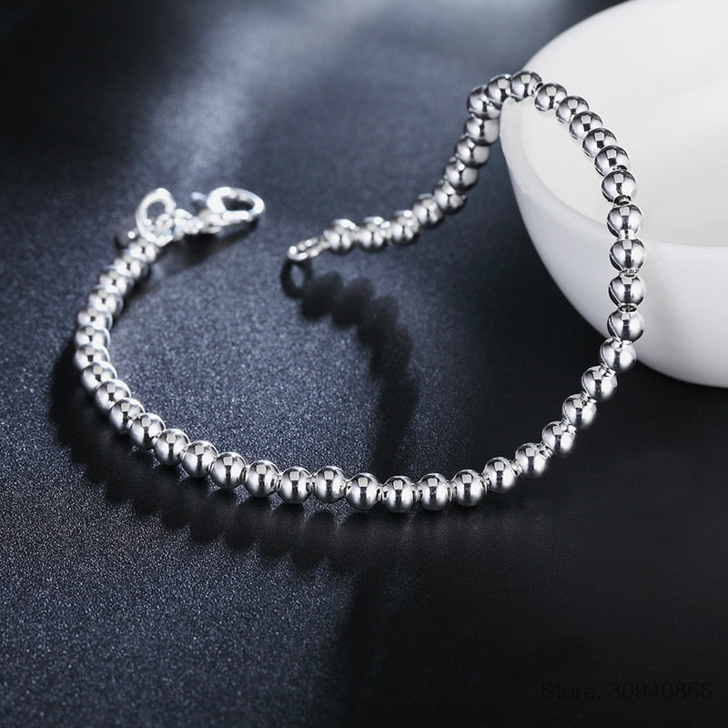 Beads Bracelet - 925 Solid Sterling Silver