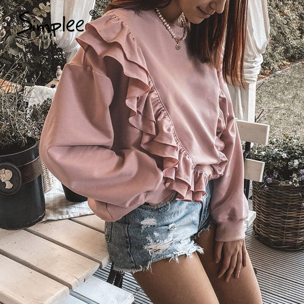 Simplee Drop-shoulder sleeve ruffled sweatshirt women Casual loose pink pullover autumn 2020 Short crewneck pullover for female