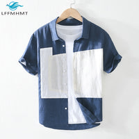 Short Sleeve Patchwork Cotton Linen Shirts For Men Summer Japan Style New Fashion Lapel Casual Breathable Thin Slim Fit Top Male