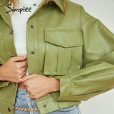 Simplee Casual faux leather jacket women Fashion green motorcycle pocket female leather coat High street short ladies jackets