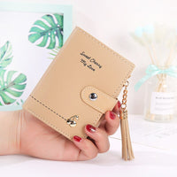 New Tassel Women Wallet Short Zipper Large Capacity Coin Purse Casual Brief Card Holder Pocket Fashion Clutch Bag