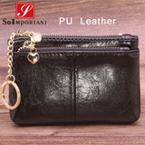 Cheapest Genuine Leather Women Female Wallets Coin Purse Men Small Zipper Money Bags Lady Pouch Card Holder With Key Ring