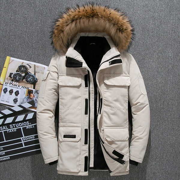 -30 Degree Down Parkas Men Winter Jacket White Duck Down Parkas Thicken Coat Fur Hooded Thick Warm Windbreaker Men Snow Overcoat