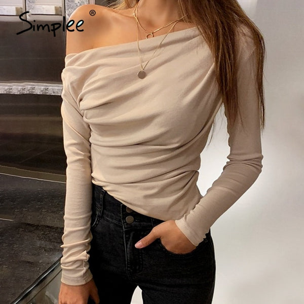 Simplee Casual one shoulder women top Summer long sleeve t-shirt female tops Sexy asymmetric slim solid ladies tops shirts 2020