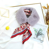2020 New Blue Scarf Ladie Elegant Luxury silk Scarf for Women Faux Fur Collar Thick Neck Warmer Coat Inverno Cachecol