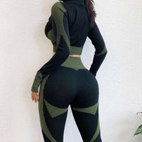 Seamless Women Skinny Yoga Sets Female Gym Suit SportWear Running Training Cycling Clothes Fitness Sport Yoga Suit Yoga clothing