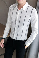 Autumn New Men Dress Shirt Long Sleeve Fashion 2020 Formal Wear Striped Shirts for Men Clothing Simple Slim Fit Business Blouses