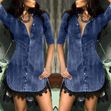 38# Casual Fashion Women's Shirt Chiffon Shirt 2020 Women's Button-down Denim Sexy Dress Ladies Lace Jeans Long Shirt