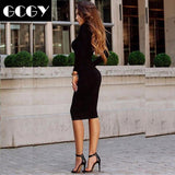 Crew Neck Sexy Streetwear Office Long Sleeve Women Dress Daily Party Tight Fitting Autumn Winter Solid Shopping Casual
