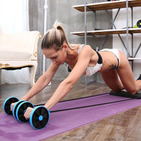 VIP ROY Exercise Trainer Belly Wheel Roller Elastic Resistance Sport Rope Ropes Sport Core Double Roller Wheel Fitness Equipment