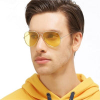 Brand 3025 Goggles Vision Night Glasses for Driving Fashion Aviation Yellow Sunglasses Men Night Vision Pilot Eyewear