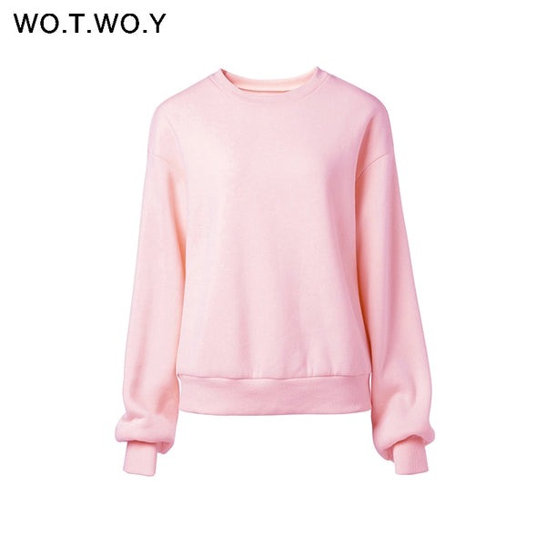 WOTWOY Fleece 2 Piece Set Women Pants and Top 2020 Ensemble Stacked Sweatpants Tracksuit Women Crop Tops Women Sportwear Joggers