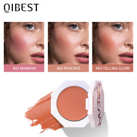 QIBEST Blush Peach Cream Makeup Blush Palette Cheek Contour Blush Cosmetics Blusher Cream Korean Makeup Rouge Cheek Tint Blush