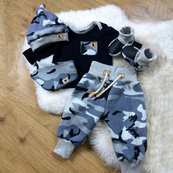 pudcoco New born kids Baby boy Pocket Decor 3Pcs cotton clothes Long Sleeve T-shirt +camouflage Pants + Hat Outfits Clothing Set