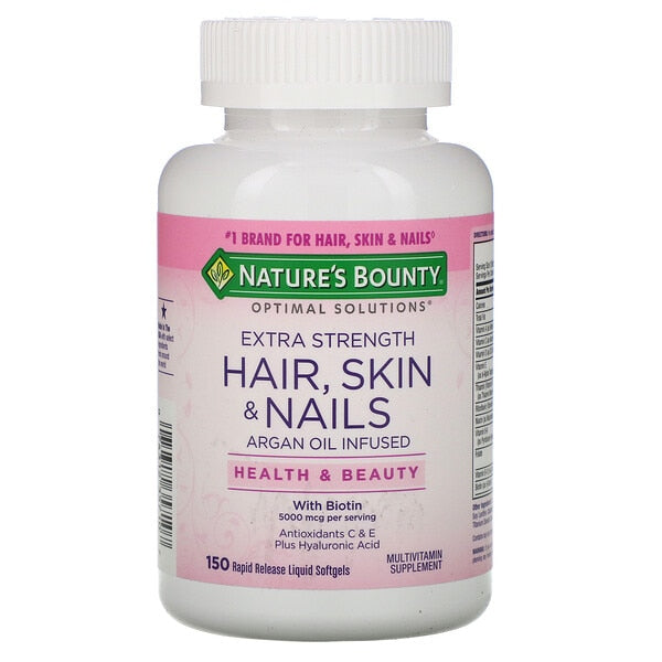 Optimal Solutions Extra Strength Hair Skin & Nails 150 Rapid Release Liquid Softgels Biotin Multivitamin FREE SHIPPING