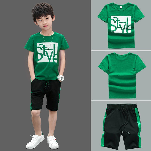 New Summer Boys Clothing Sets Children T-shirt Short Sleeve +Pants Set Two Pieces Set Kids Baby Boys Clothes 6 8 10 Years Old