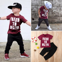 Pudcoco Boy Set 1Y-6Y Kids Baby Boys Casual Short Sleeve Tops T-shirt Pants Trousers Outfits Clothes