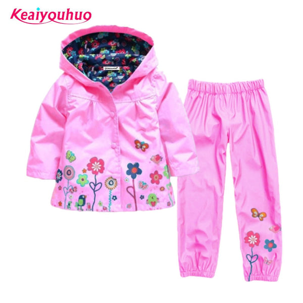Children clothing set 2019 Spring Autumn baby boys girls clothes sets 2 Pcs raincoat outwear+pants Costume For Girls Kids Clothe