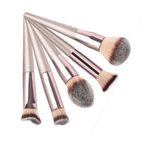 1pcs Multifunction Champaign Gold Wooden Handle Medium Makeup Flame Angled Loose Powder Brush