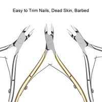 Stainless Steel Cuticle Nipper Professional Remover Scissors Finger Care Manicure Nail Clipper Dead Skin Tools Gold and Sliver