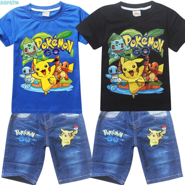 2017 New Boy T Shirt Pokemon Go Cartoon Children Pikachu T-Shirts + jeans suit For Boys Girls Tees Cotton Tops Kids clothes Sets