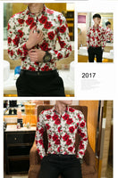New Arrival Fashion Autumn Male Shirt Casual Long Sleeve Button Shirt for Men Rose Printed Floral Shirts